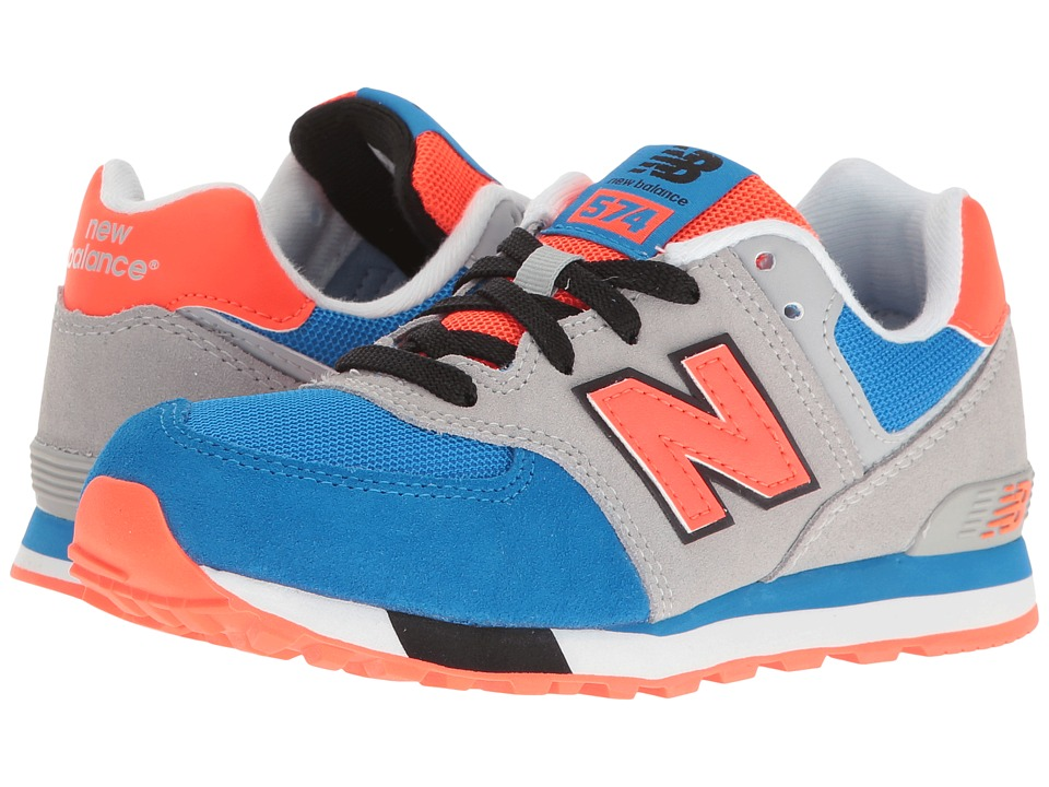 New Balance Kids - KL574v1 Cut Paste (Little Kid) (Grey/Blue) Boys Shoes