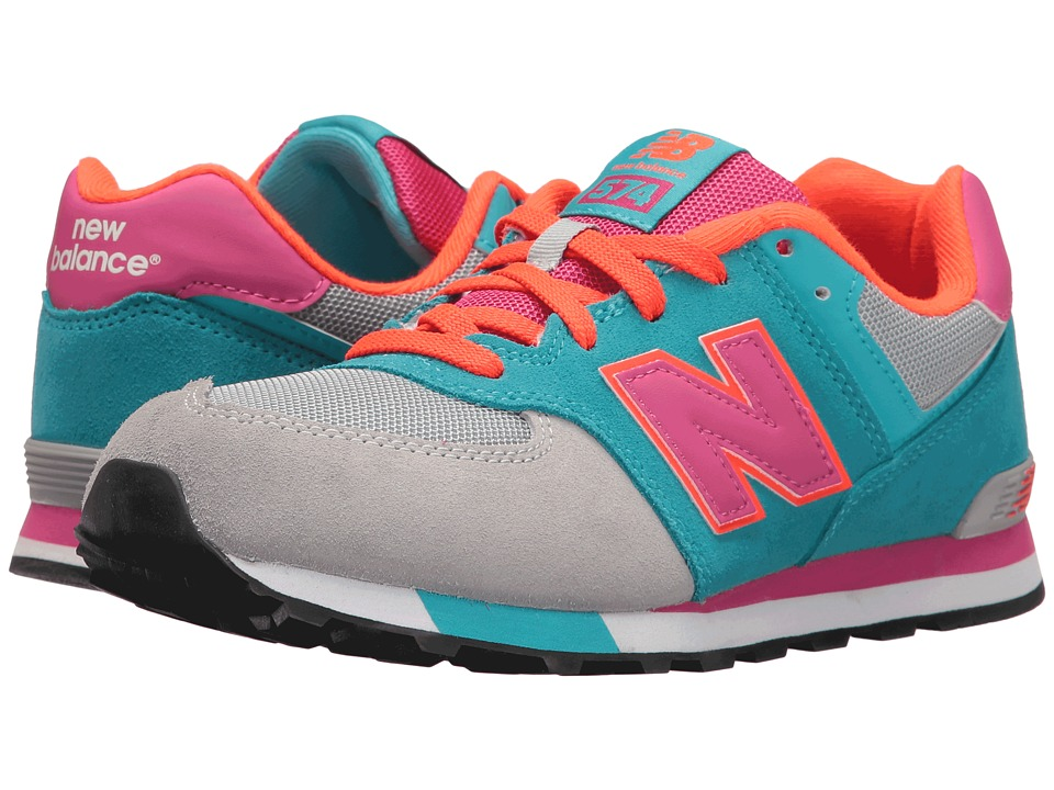New Balance Kids - KL574v1 Cut Paste (Little Kid) (Grey/Teal) Girls Shoes