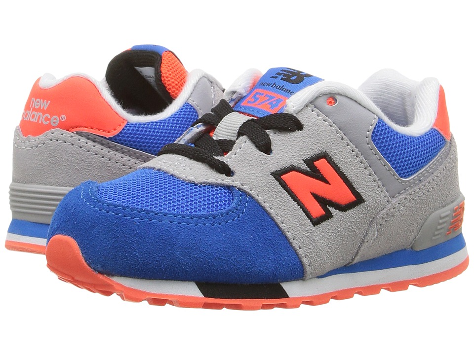 New Balance Kids - KL574v1 Cut Paste (Infant/Toddler) (Grey/Blue) Boys Shoes