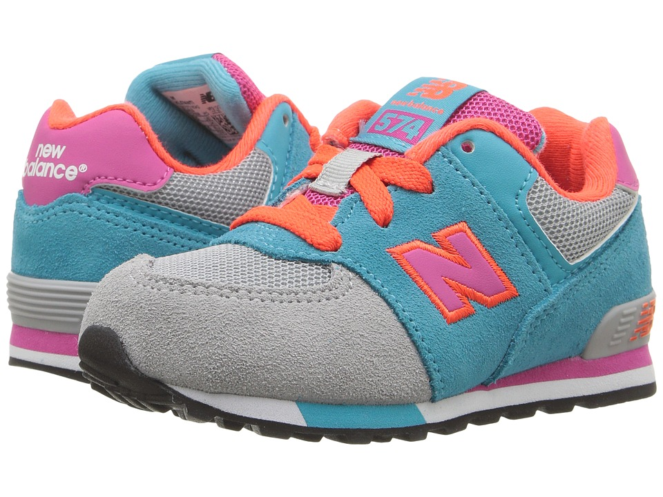 New Balance Kids - KL574v1 Cut Paste (Infant/Toddler) (Grey/Teal) Girls Shoes