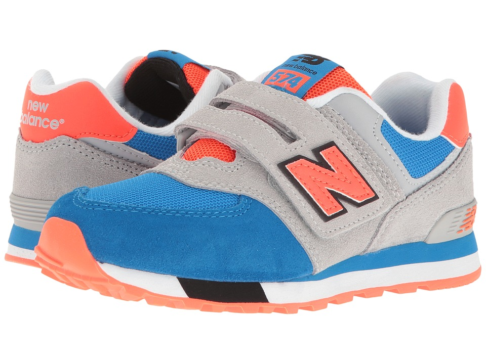 New Balance Kids - KV574v1 Cut Paste (Little Kid/Big Kid) (Grey/Blue) Boys Shoes
