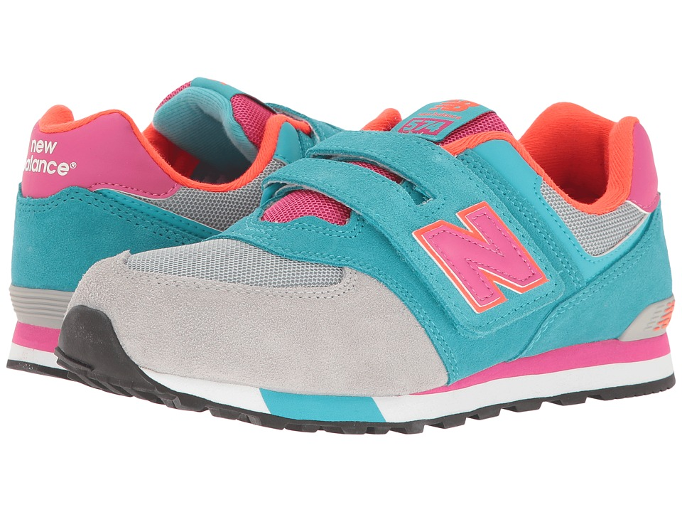 New Balance Kids - KV574v1 Cut Paste (Little Kid/Big Kid) (Grey/Teal) Girls Shoes