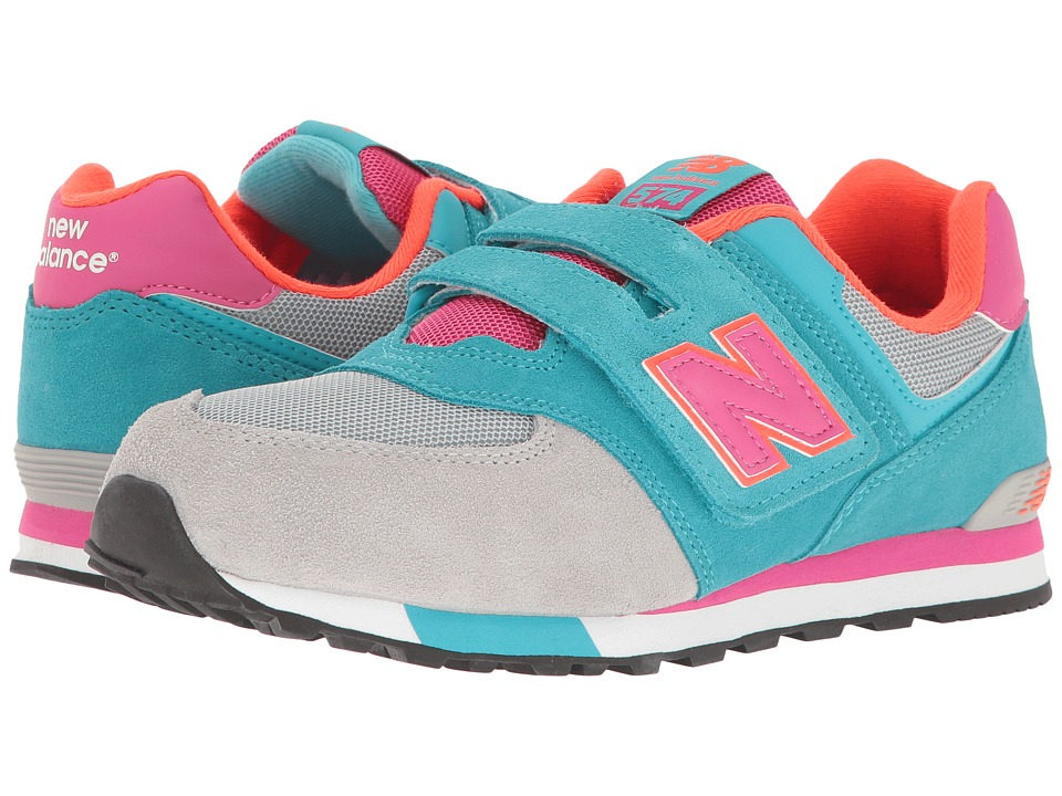 New Balance Kids - KV574v1 Cut Paste (Infant/Toddler) (Grey/Teal) Girls Shoes