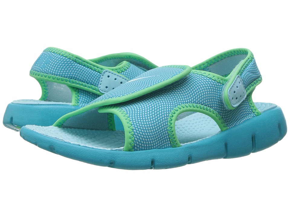 Nike Kids Sunray Adjust 4 (Little Kid/Big Kid) (Still Blue/Chlorine Blue/Electro Green) Girls Shoes