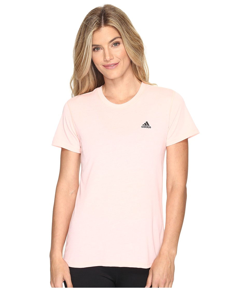 adidas - Ultimate Short Sleeve Tee (Haze Coral S17/Black) Women's Short Sleeve Pullover