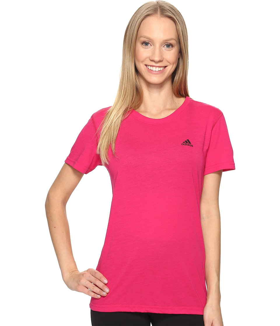 adidas - Ultimate Short Sleeve Tee (Bold Pink/Black) Women's Short Sleeve Pullover