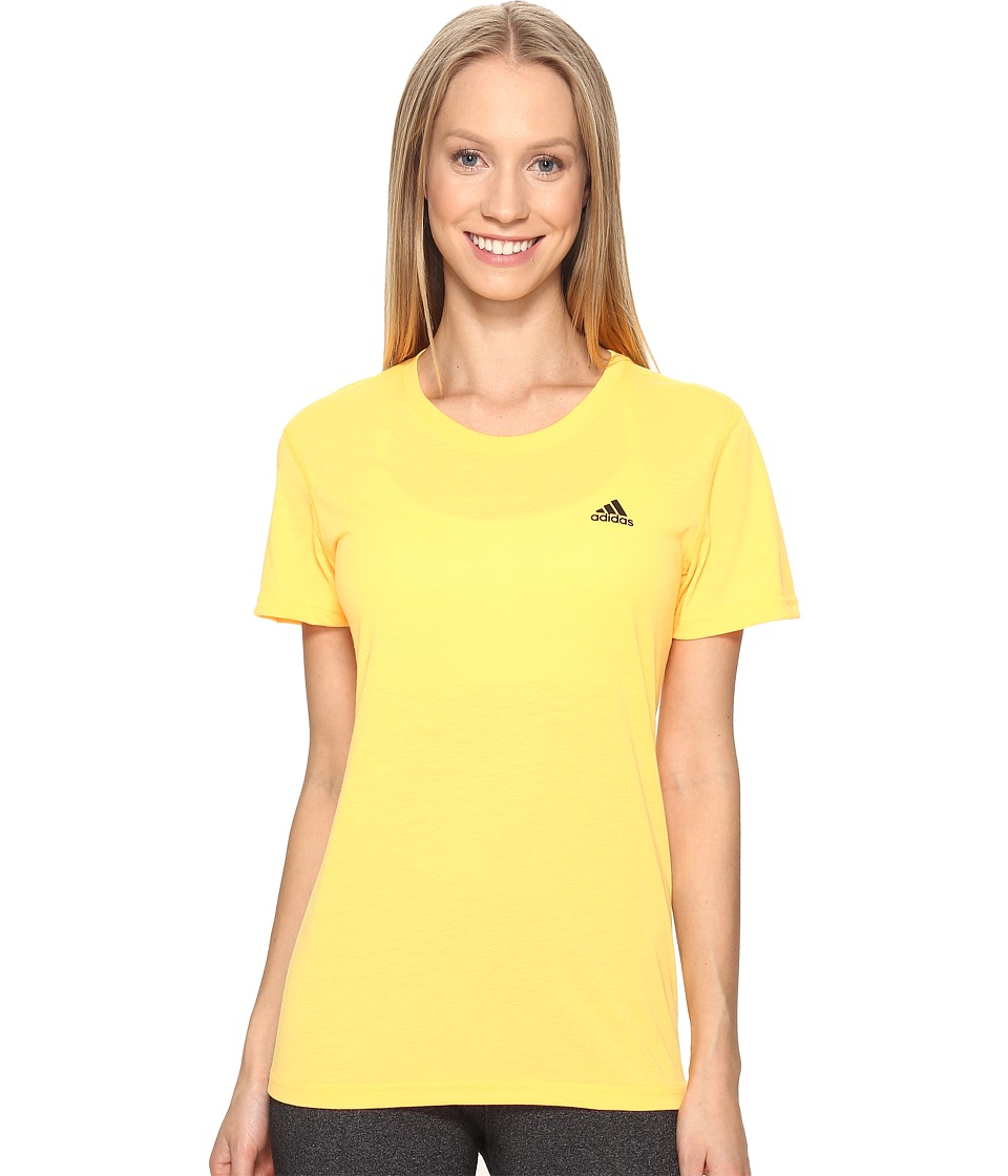 adidas - Ultimate Short Sleeve Tee (Solar Gold/Black) Women's Short Sleeve Pullover