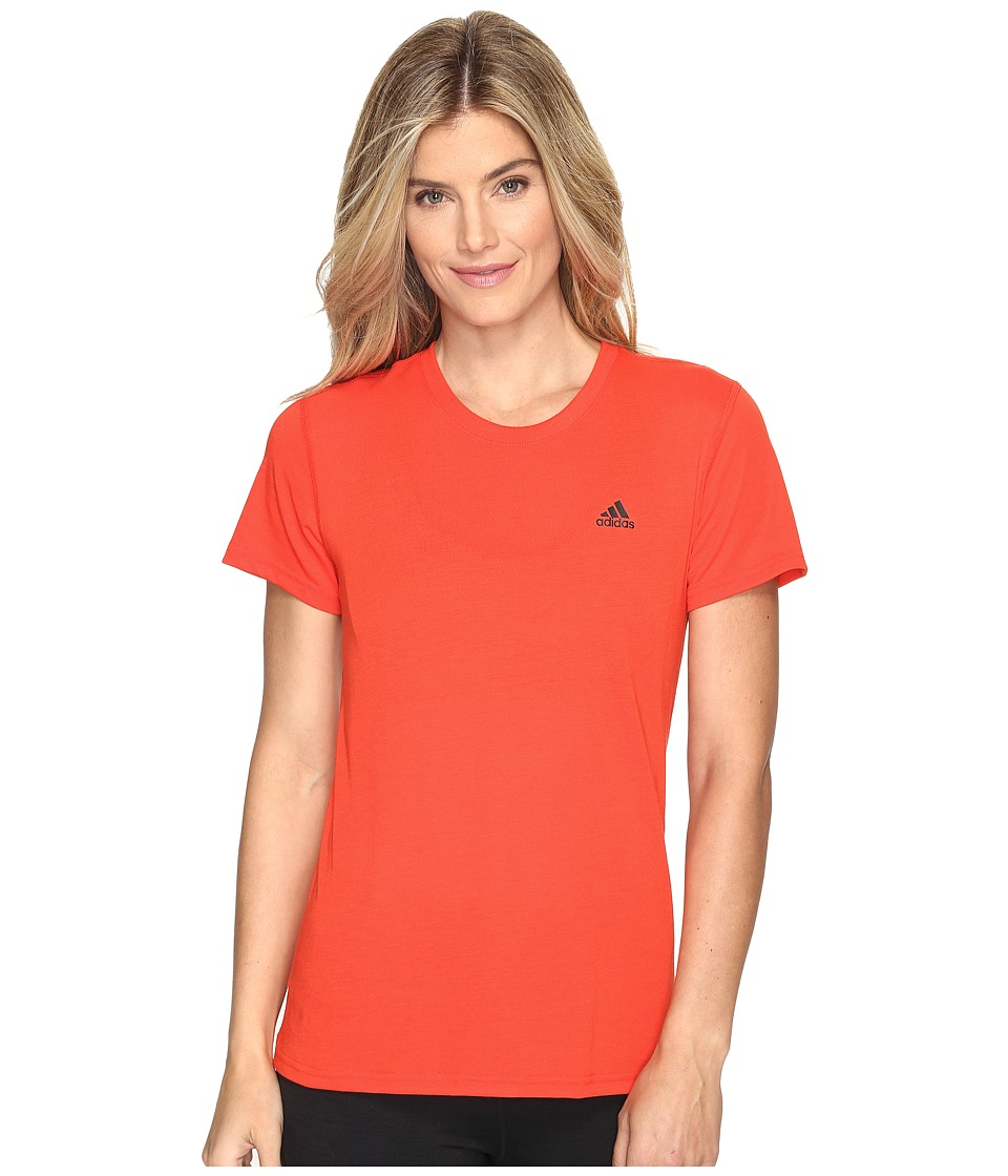 adidas - Ultimate Short Sleeve Tee (Core Red S17/Black) Women's Short Sleeve Pullover