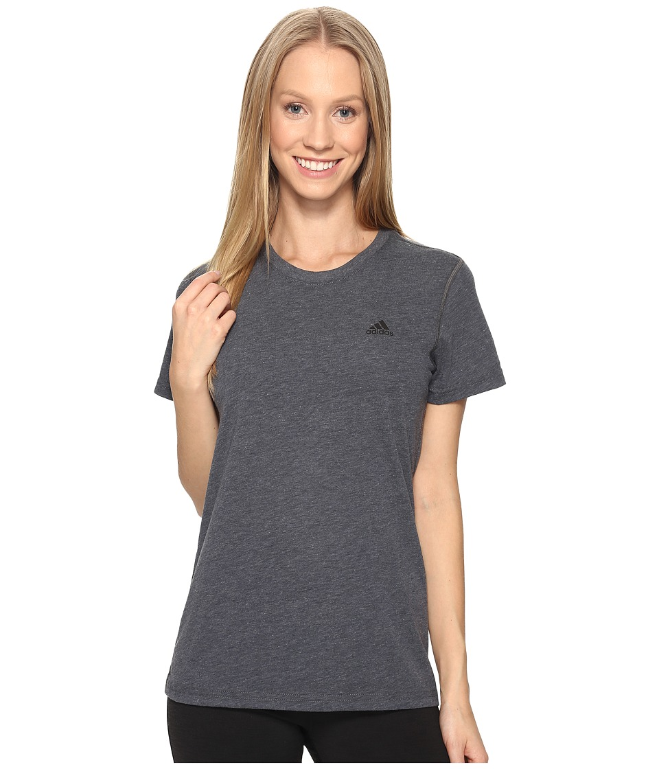 adidas - Ultimate Short Sleeve Tee (Dark Grey Heather/Black) Women's Short Sleeve Pullover