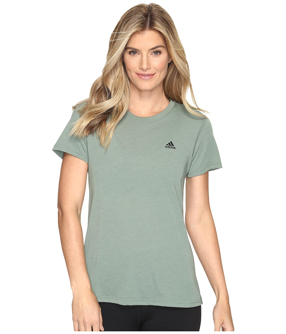 adidas - Ultimate Short Sleeve Tee (Trace Green S17/Black) Women's Short Sleeve Pullover