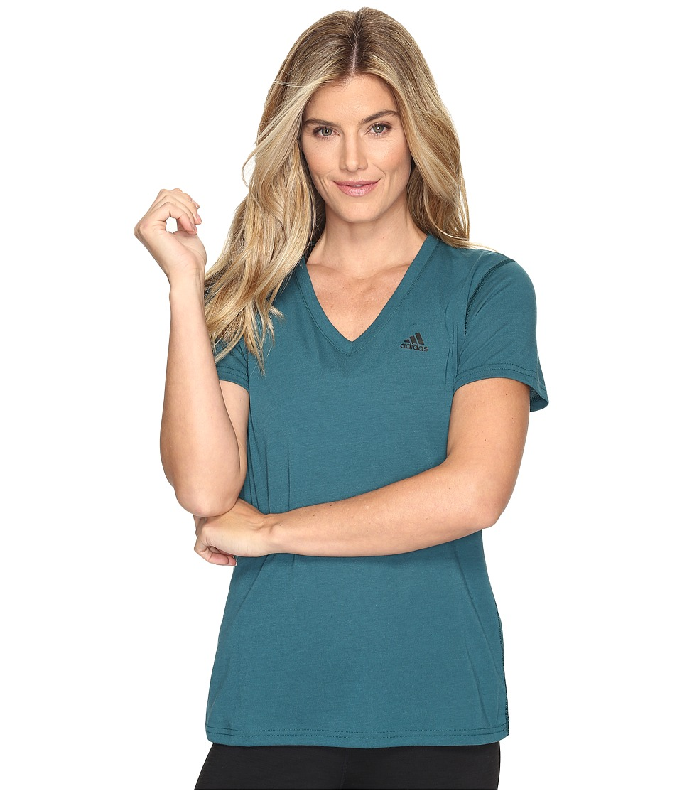 adidas - Ultimate V-Neck Tee (Mystery Green S17/Black) Women's Short Sleeve Pullover