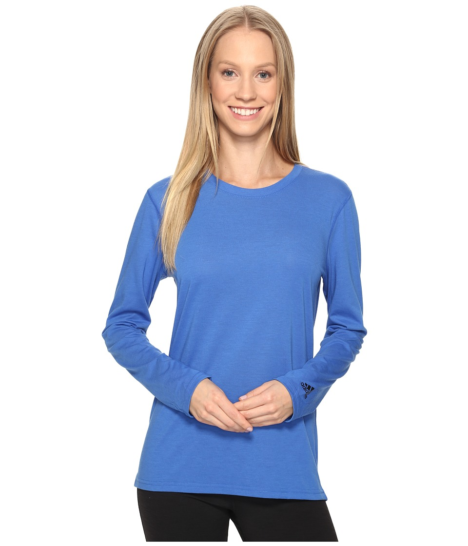 adidas - Ultimate Long Sleeve Tee (Blue/Black) Women's Long Sleeve Pullover