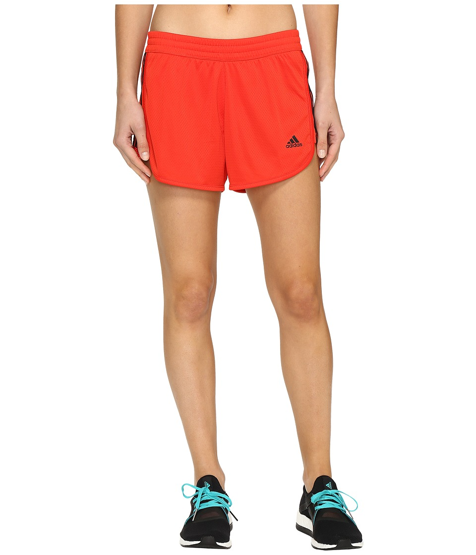 adidas - 3-Stripes Knit Shorts (Core Red S17/Black) Women's Shorts