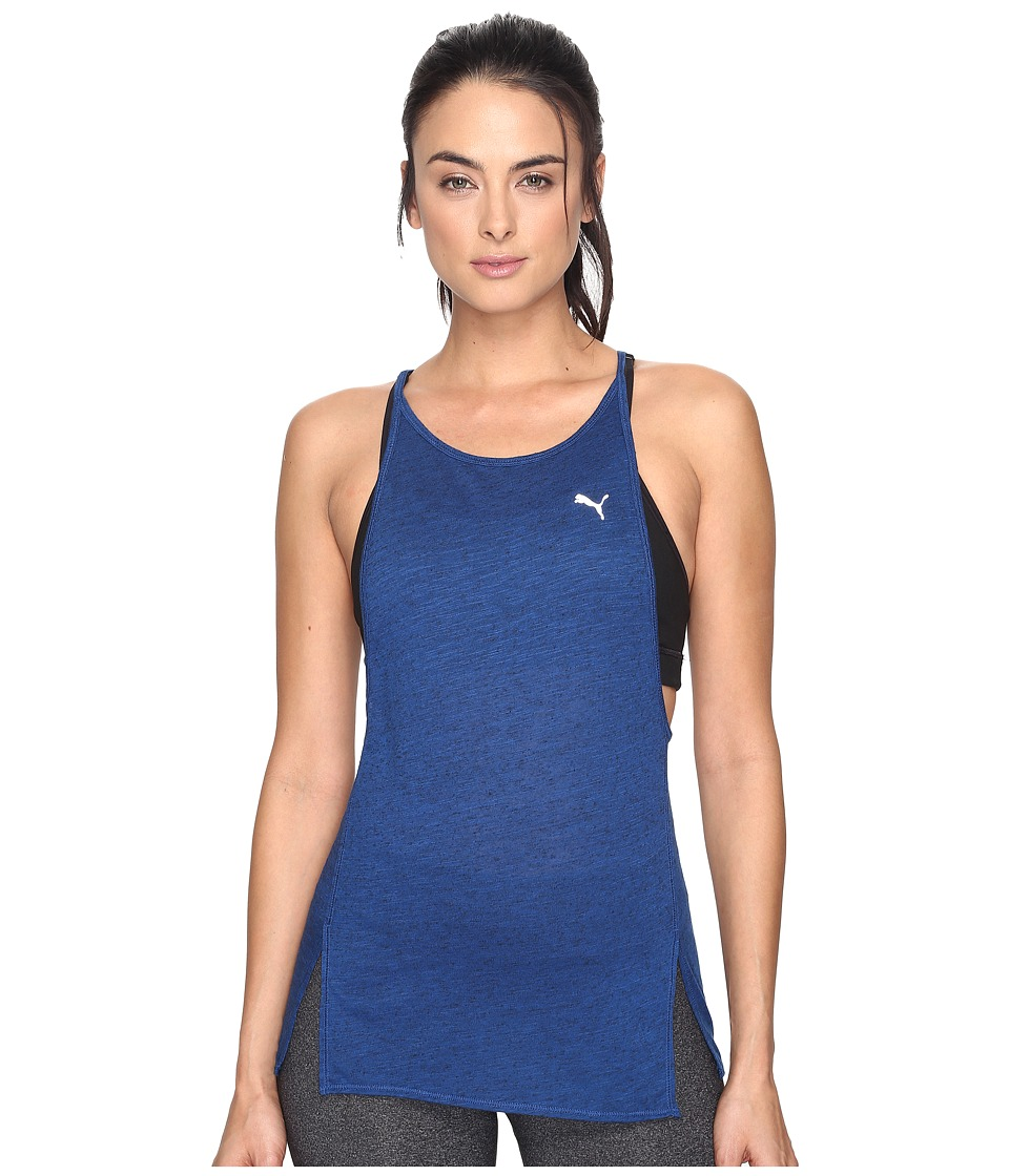 PUMA - Dancer Drapey Tank Top (True Blue Heather) Women's Sleeveless