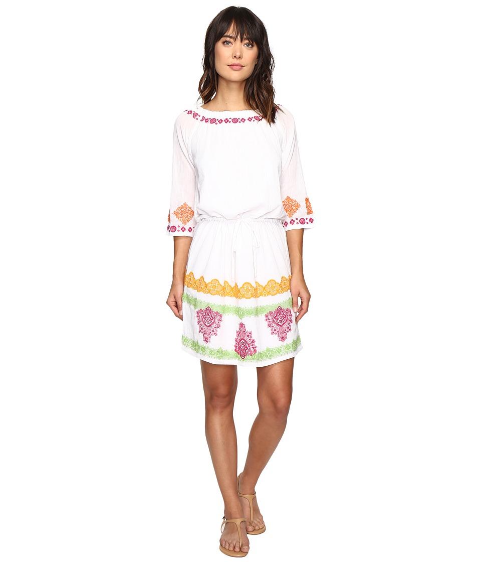 Tommy Bahama Embroidered Gauze Short Dress (Bright White) Women