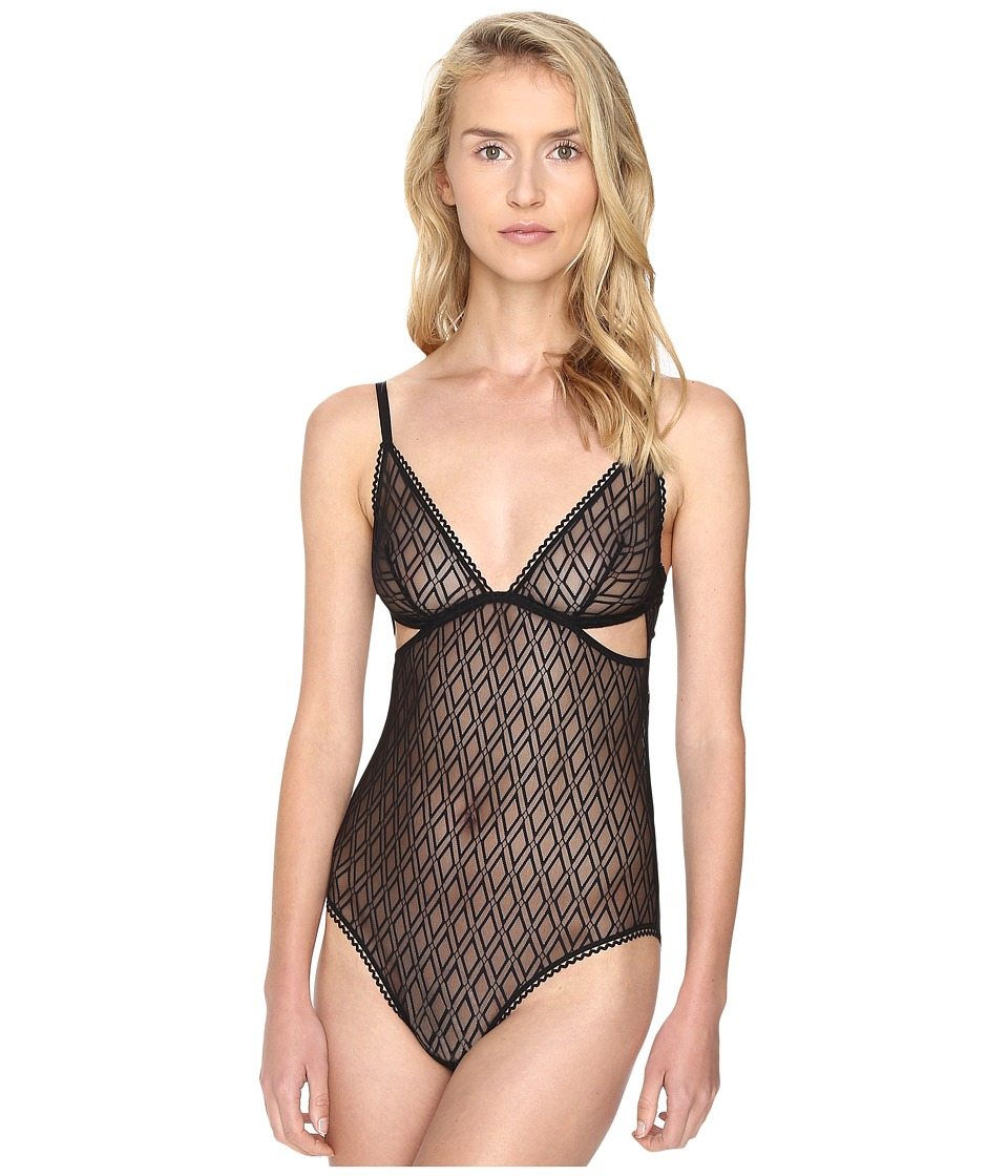 ELSE - Baklava Triangle Cup Cut Out Bodysuit (Black) Women's Jumpsuit & Rompers One Piece