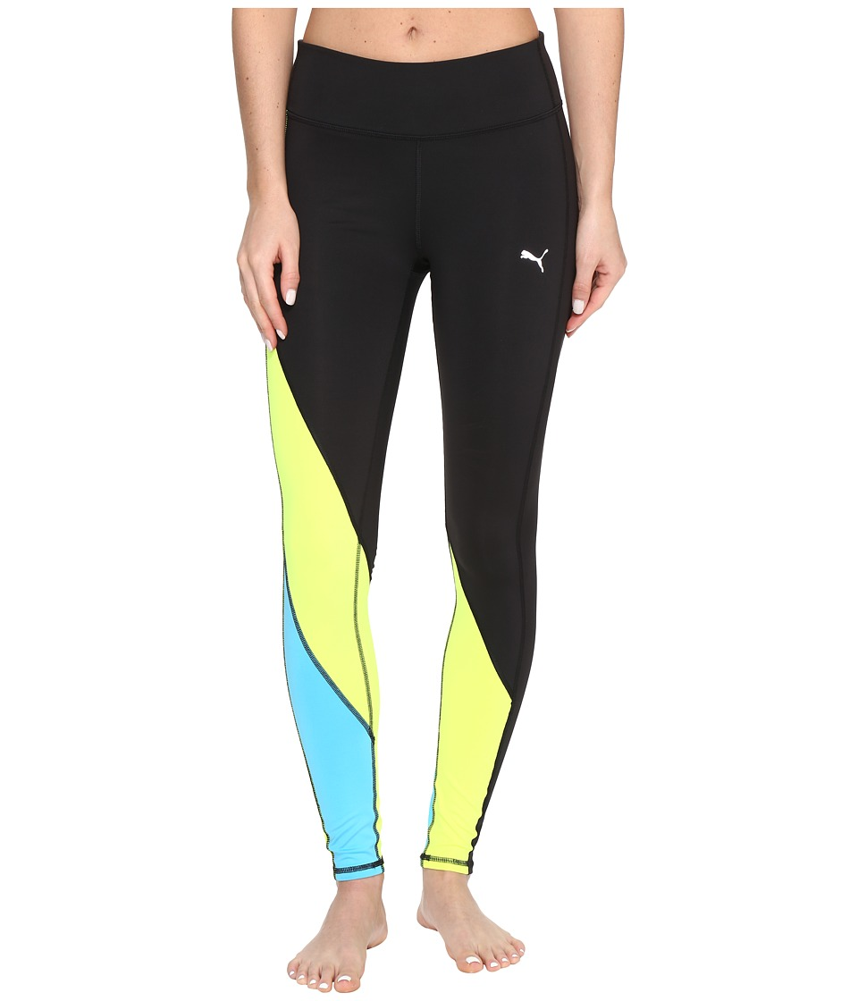 PUMA - Clash Tights (Puma Black/Safety Yellow) Women's Casual Pants