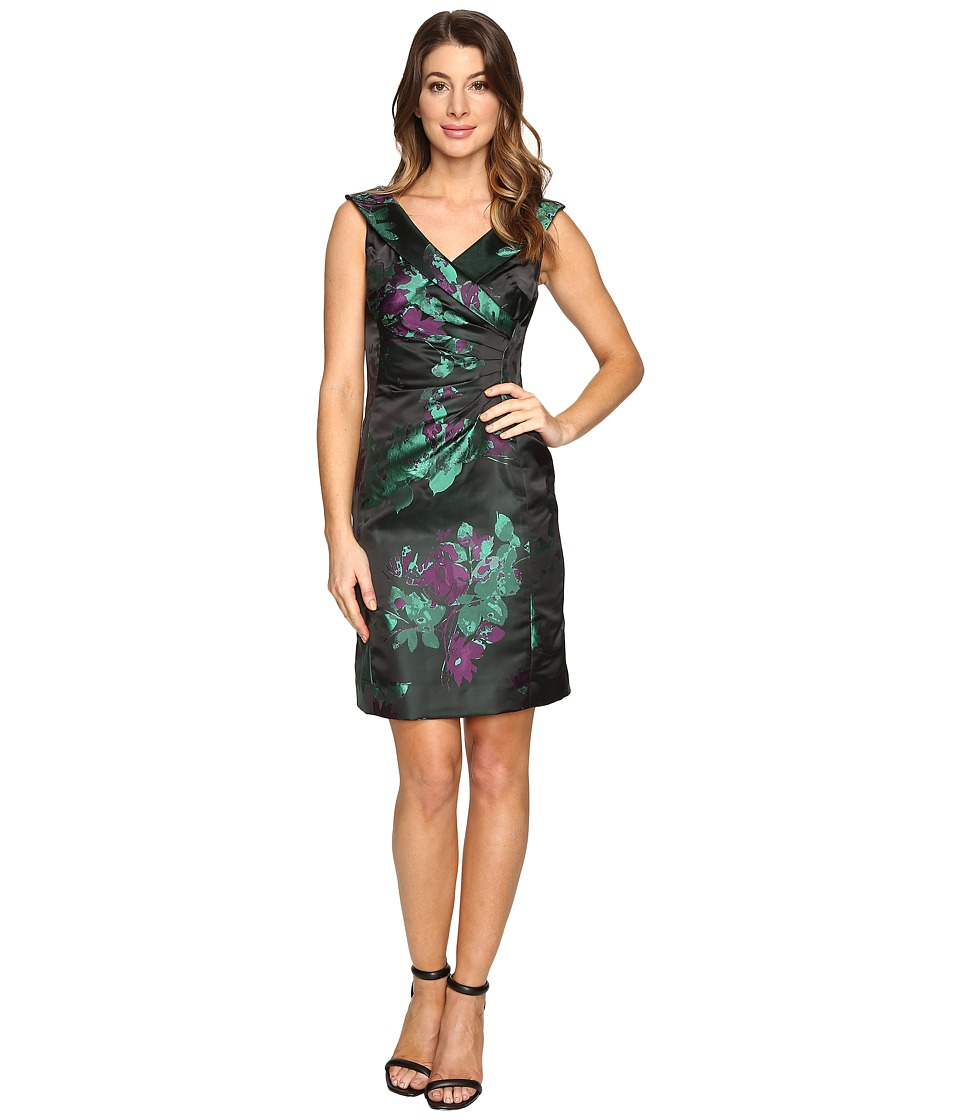 Tahari by ASL Floral Printed Satin Portrait Collar Sheath with Side Ruche Black-Emerald-Violet Dress