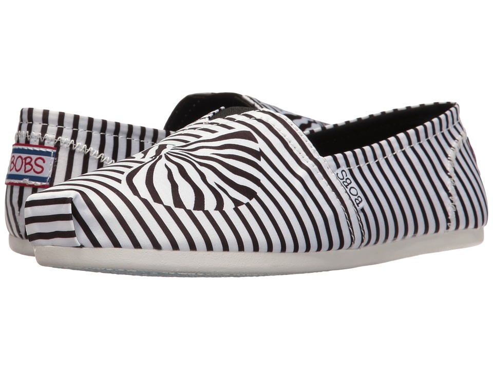 BOBS from SKECHERS Bobs Plush 3D Bow (White/Black) Women