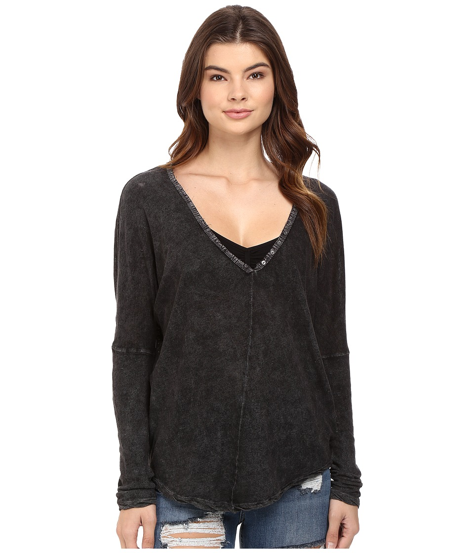 Free People - Santa Cruz Henley (Black) Women's Clothing