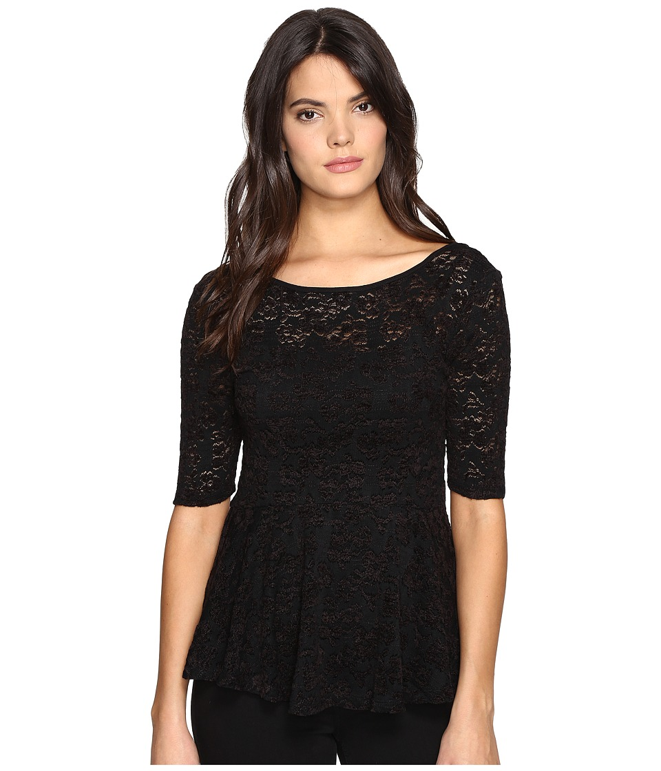 Free People - Second Chance Chenille Top (Black) Women's Clothing