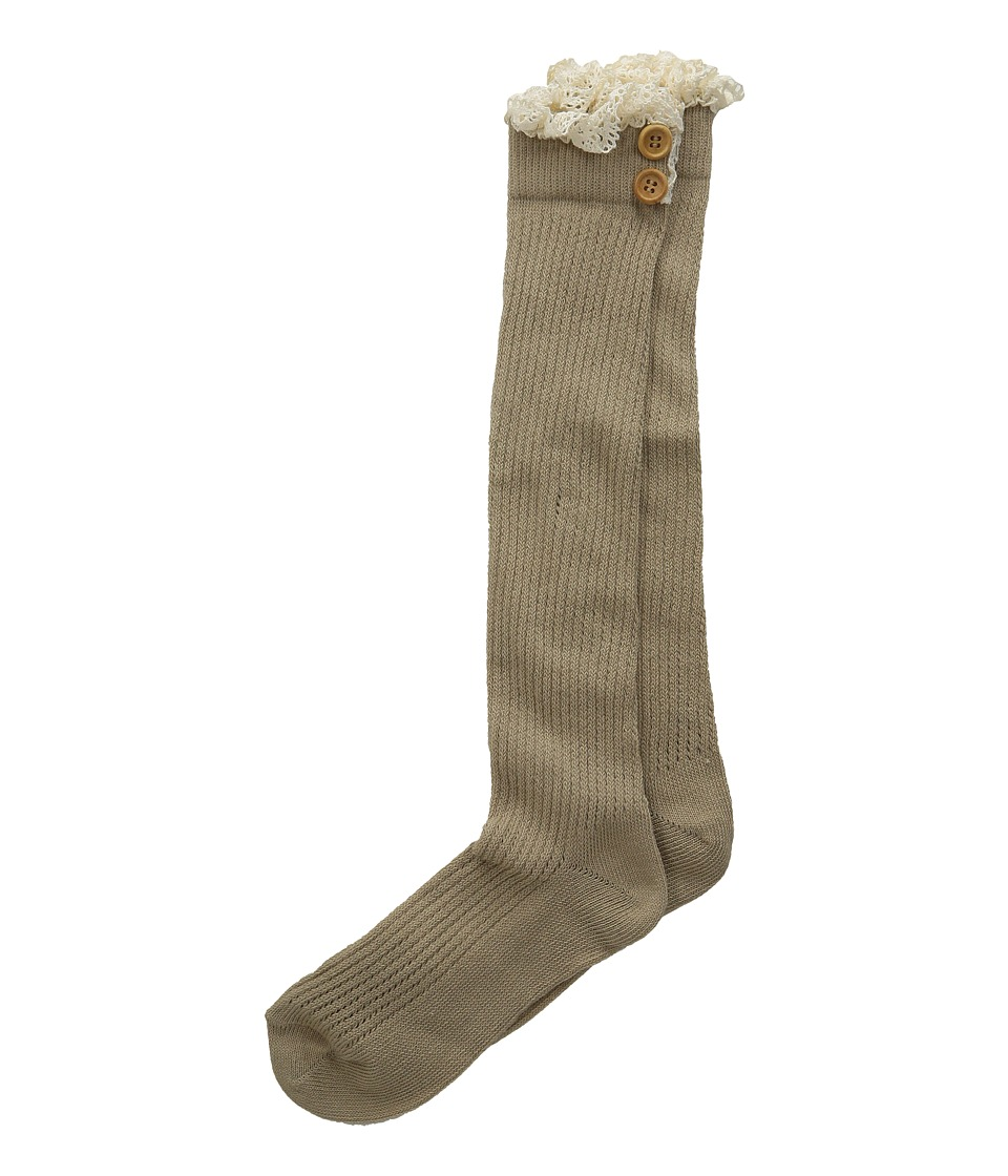 Jefferies Socks - Lace Buttons Knee High Socks (Toddler/Big Kid/Adult) (Khaki) Girls Shoes