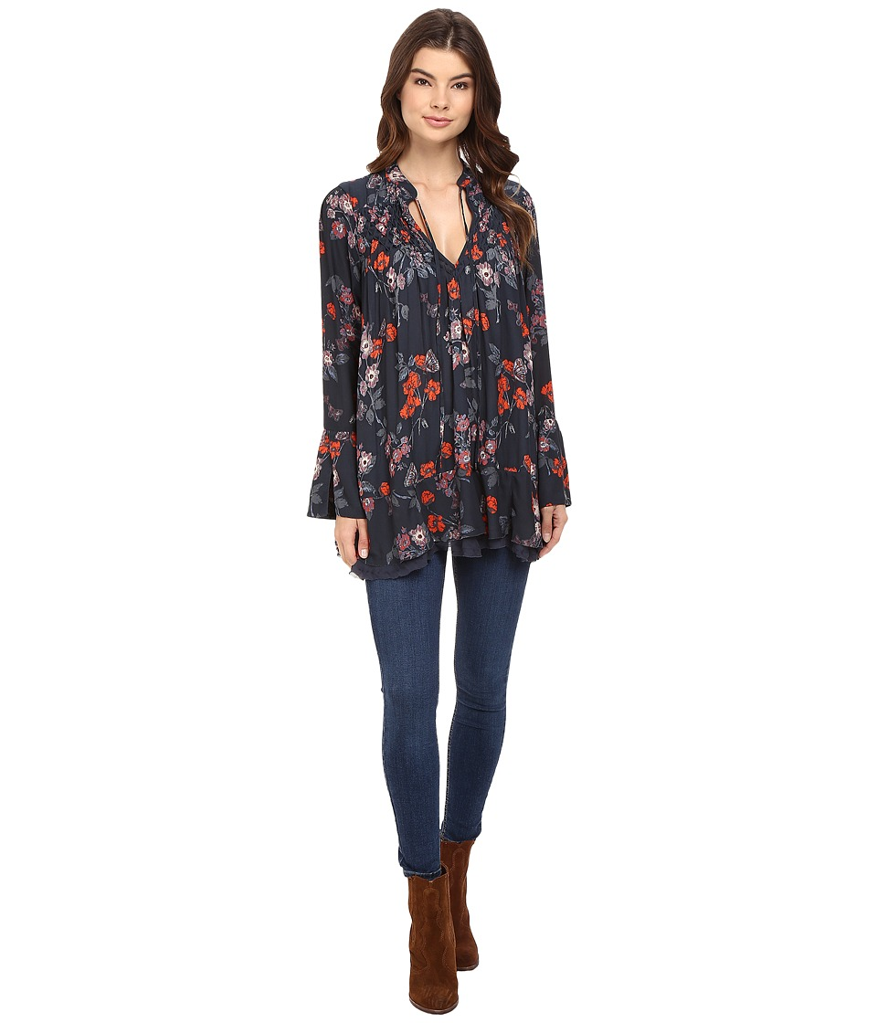 Free People - So Fine Printed Tunic (Navy) Women's Blouse