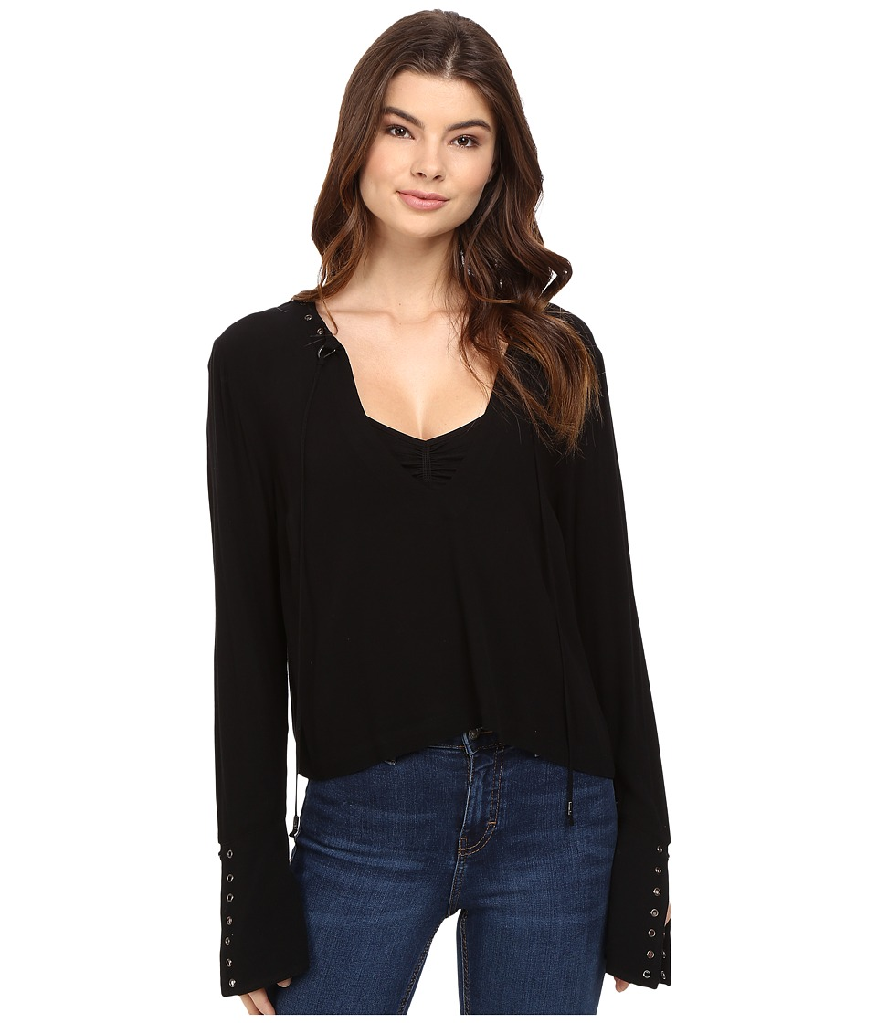 Free People - Jump to The Beat Top (Black) Women's Clothing