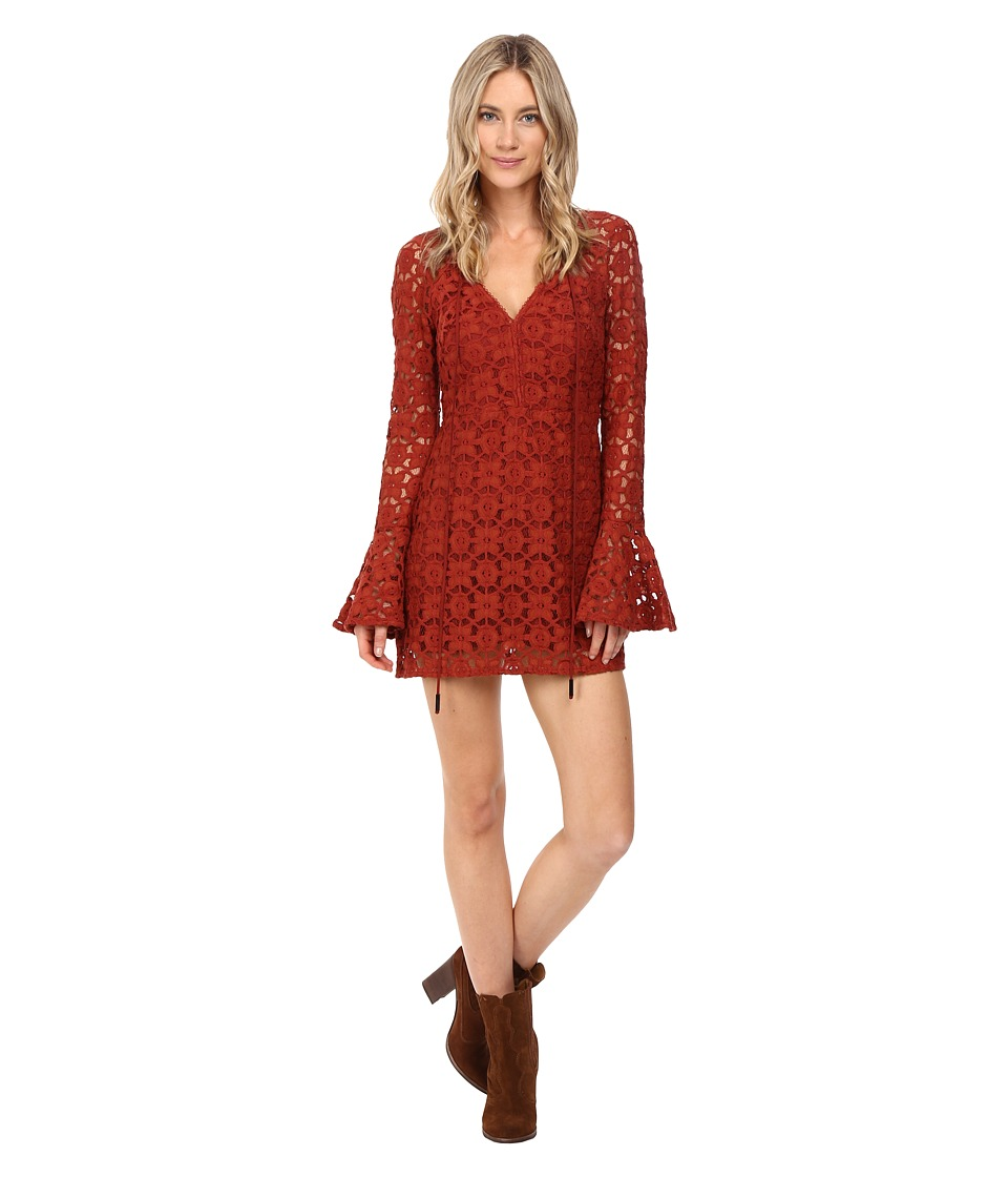 Free People - Back to Black Mini Dress (Terracotta) Women's Dress