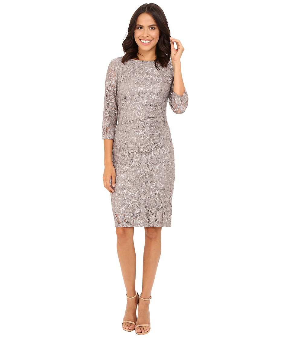 rsvp - Becca Lace Dress with Rouche Side (Grey 1) Women's Dress