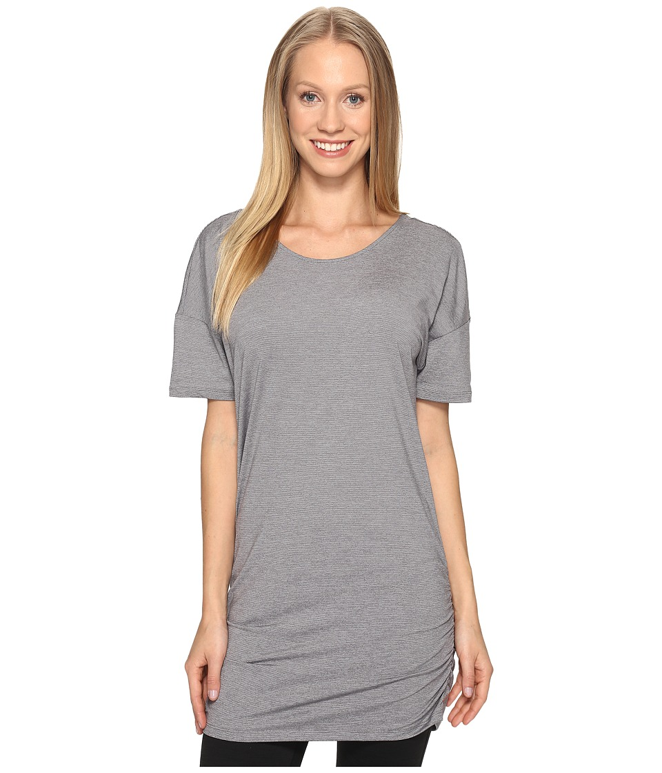 Lucy - Manifest Short Sleeve Tunic (Silver Filigree Micro Stripe) Women's Short Sleeve Pullover