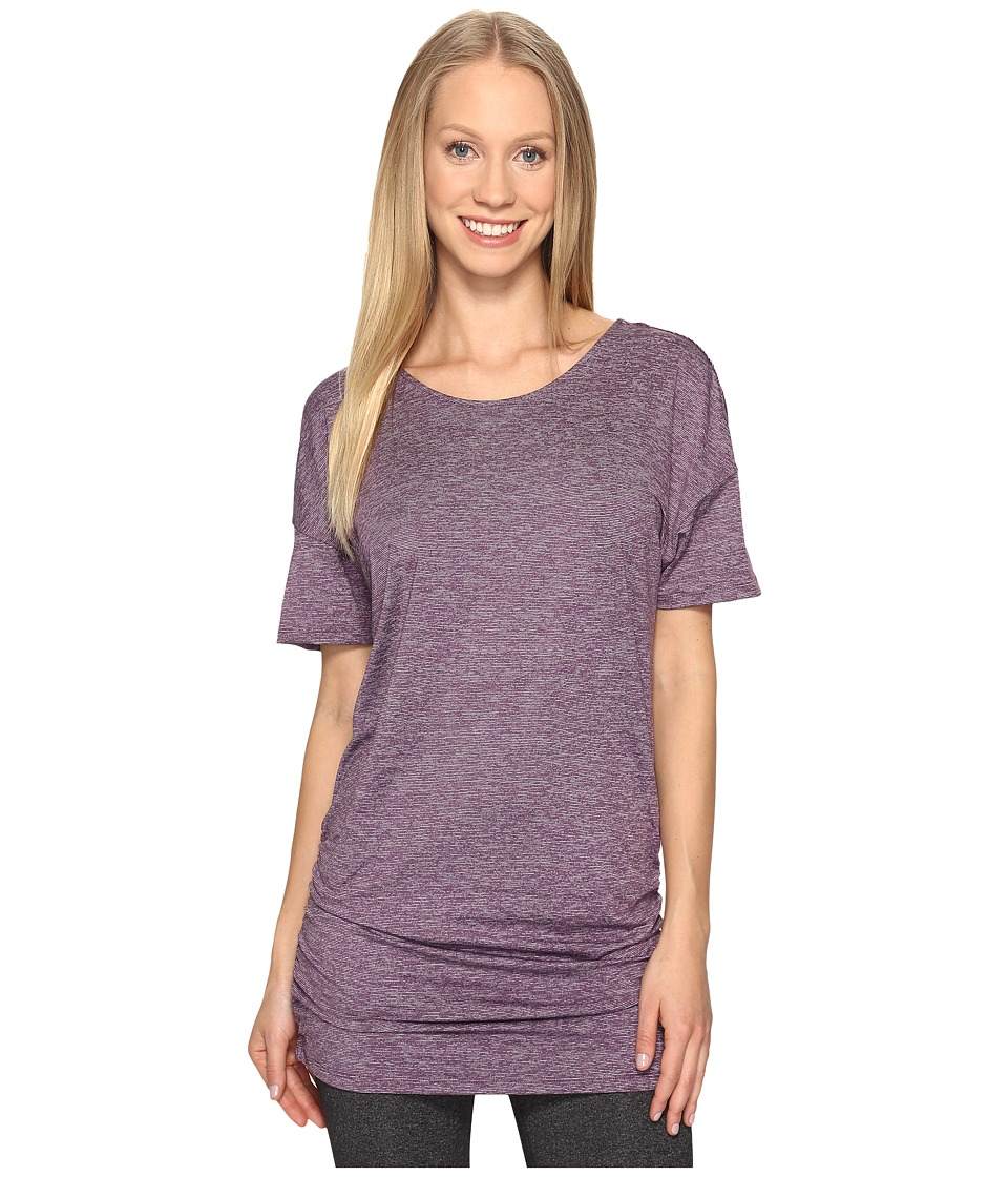 Lucy - Manifest Short Sleeve Tunic (Blackberry Micro Stripe) Women's Short Sleeve Pullover