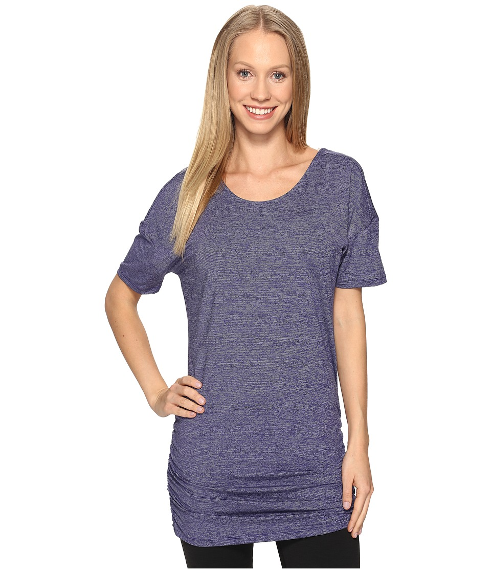 Lucy - Manifest Short Sleeve Tunic (Pure Indigo Micro Stripe) Women's Short Sleeve Pullover