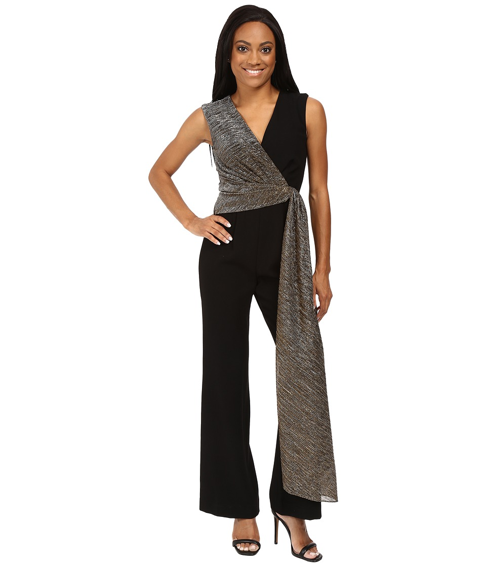 Tahari by ASL Petite - Petite Stretch Crepe Jumpsuit with Metallic Wrap Detail (Black/Gold) Women's Jumpsuit & Rompers One Piece