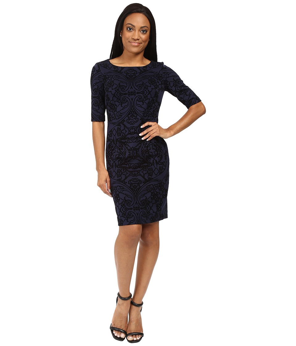 Tahari by ASL Petite - Petite Velvet Applique Sleeved Scuba Sheath (Navy/Black) Women's Dress