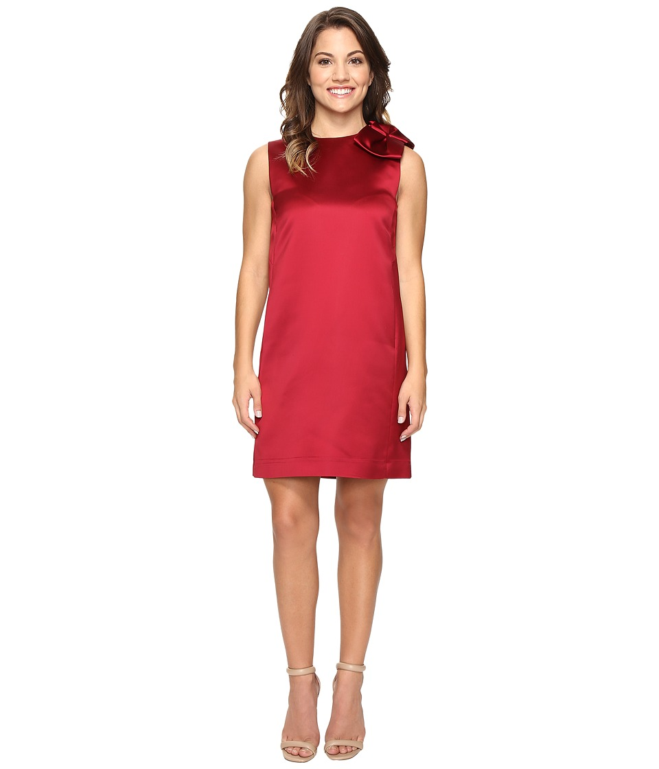 Tahari by ASL Petite - Petite Bow Shoulder Satin Shift (Garnet) Women's Dress