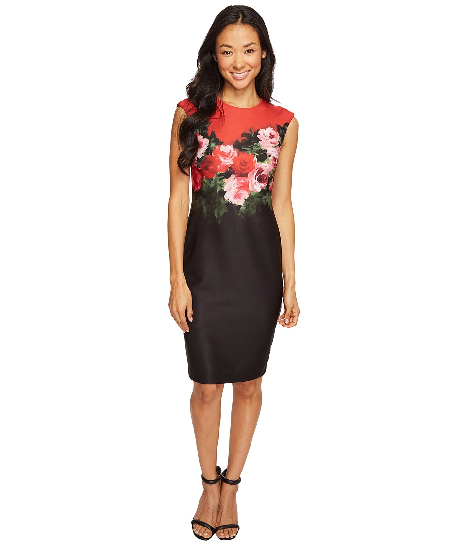 Tahari by ASL Petite - Petite Rose Print Scuba Sheath (Black/Scarlet) Women's Dress