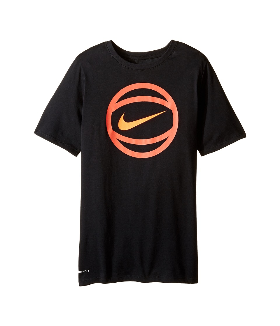 Nike Kids - Short Sleeve Ball Logo Dry Tee (Little Kids/Big Kids) (Black) Boy's T Shirt