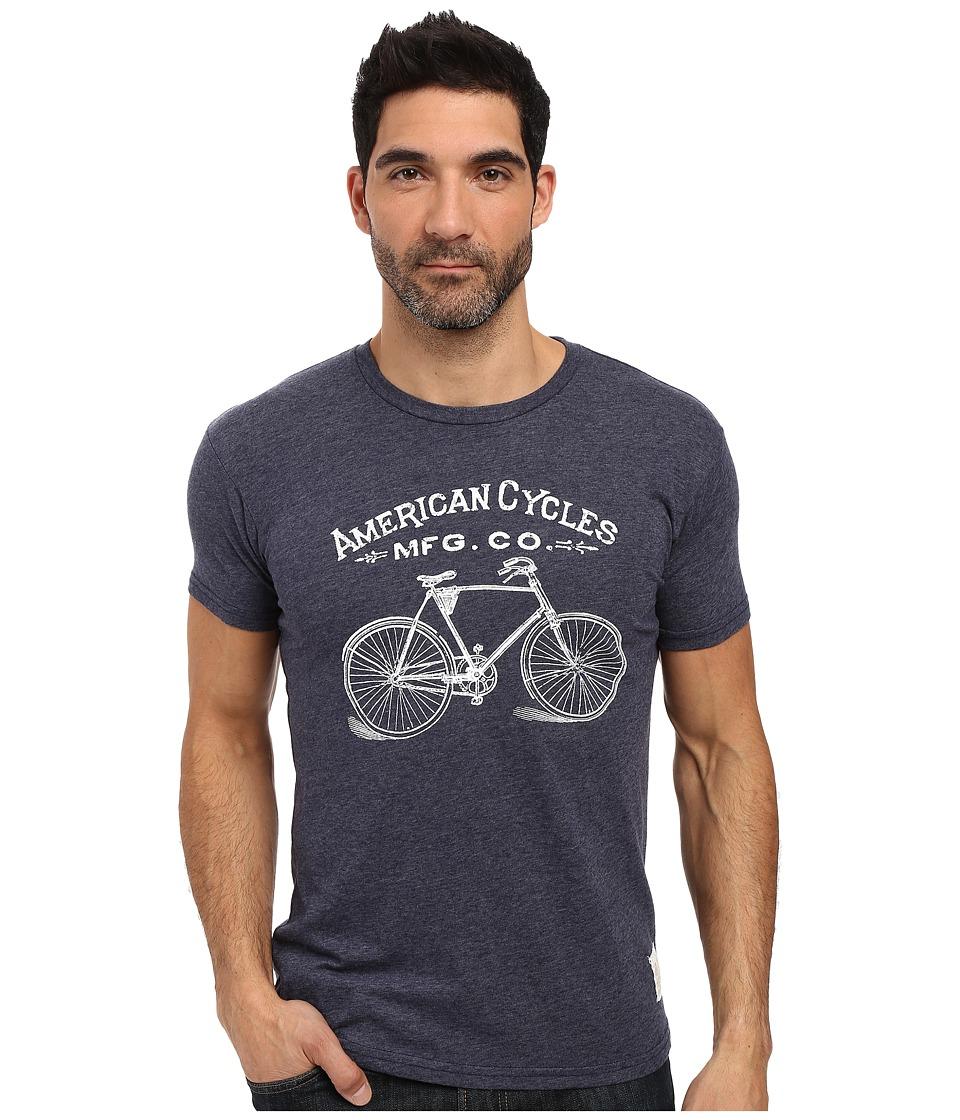 The Original Retro Brand - Short Sleeve Tri-Blend American Cycle Tee (Streaky Navy) Men's T Shirt