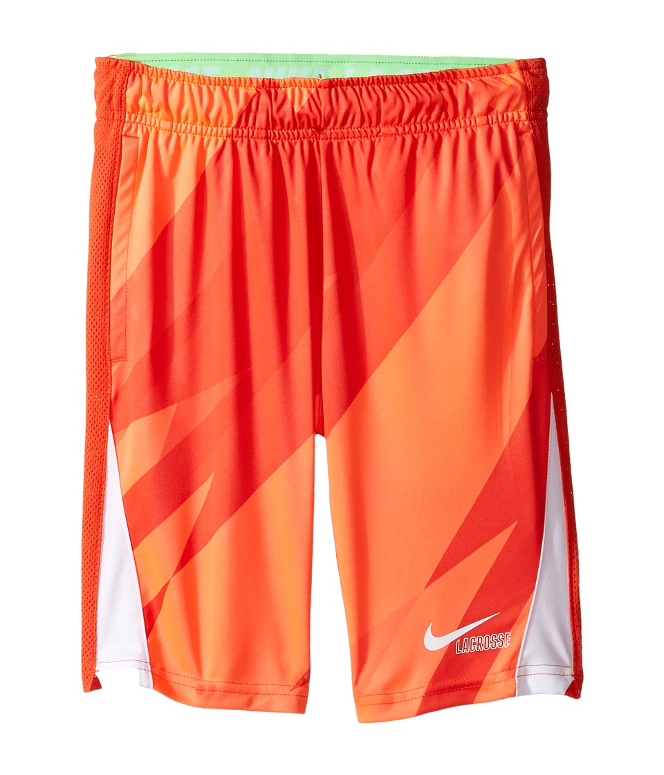 Nike Kids - Lacrosse Dry Print Training Short (Little Kids/Big Kids) (Hyper Orange/Max Orange/White/White) Boy's Shorts