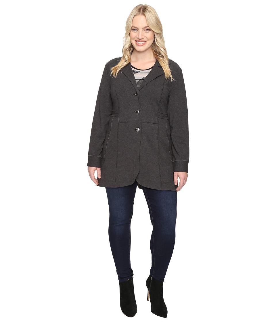 NIC+ZOE - Plus Size Seamed Riding Jacket (Phantom Heather) Women's Coat