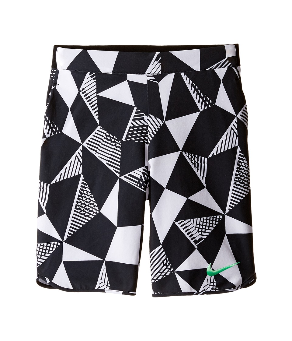 Nike Kids - Court Flex Ace Print Tennis Short (Little Kids/Big Kids) (White/Black/Electro Green) Boy's Shorts