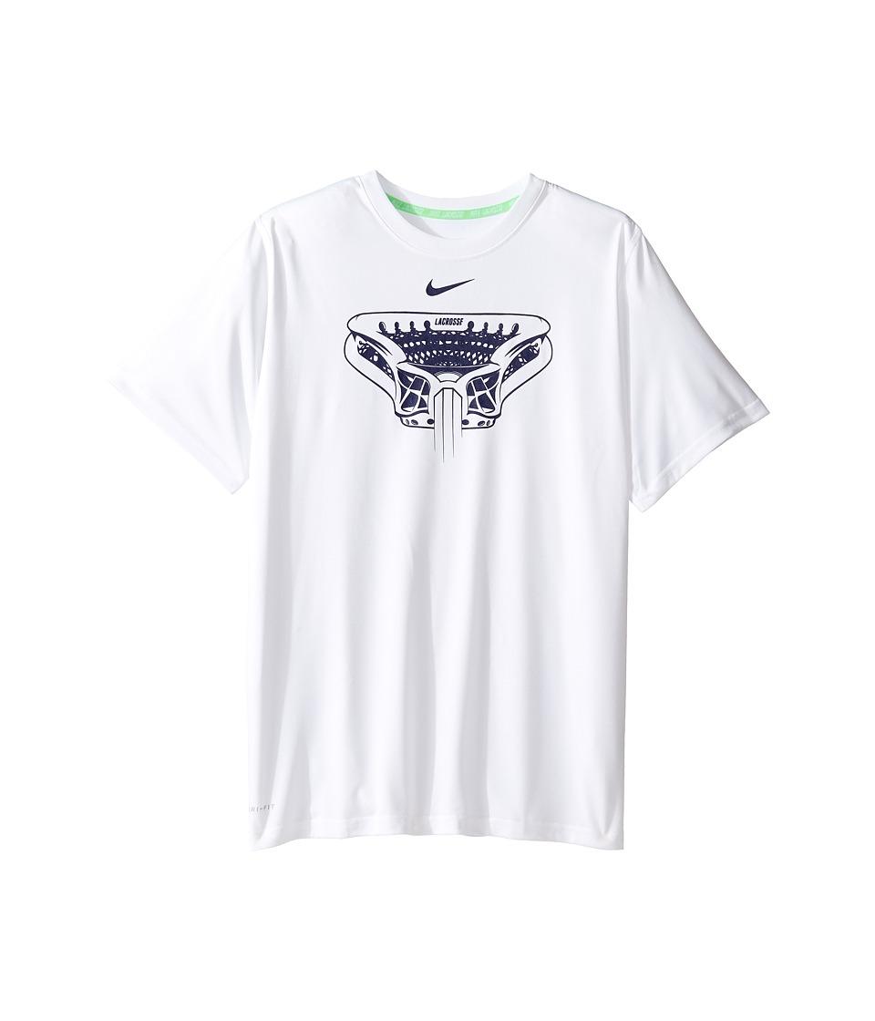 Nike Kids - Dry Legend Lacrosse T-Shirt (Little Kids/Big Kids) (White/Binary Blue) Boy's T Shirt