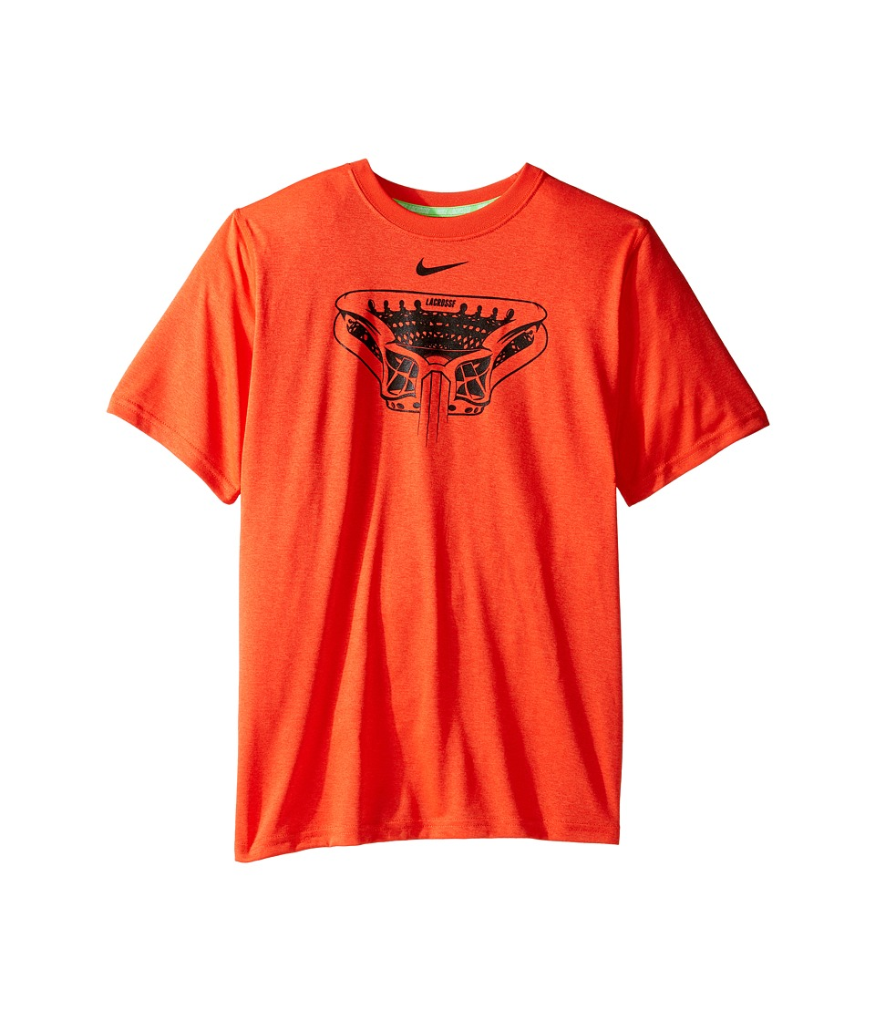 Nike Kids - Dry Legend Lacrosse T-Shirt (Little Kids/Big Kids) (Max Orange/Black) Boy's T Shirt