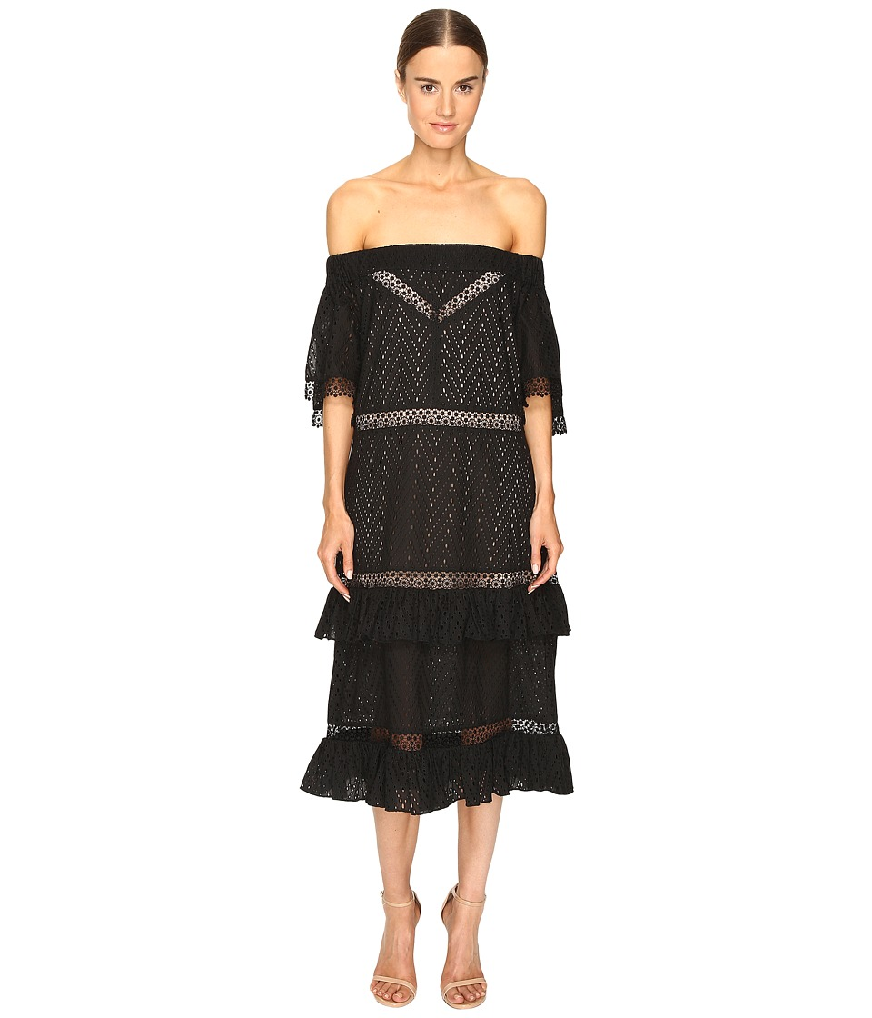 Prabal Gurung - Off Shoulder Tiered Ruffle Dress (Black) Women's Dress