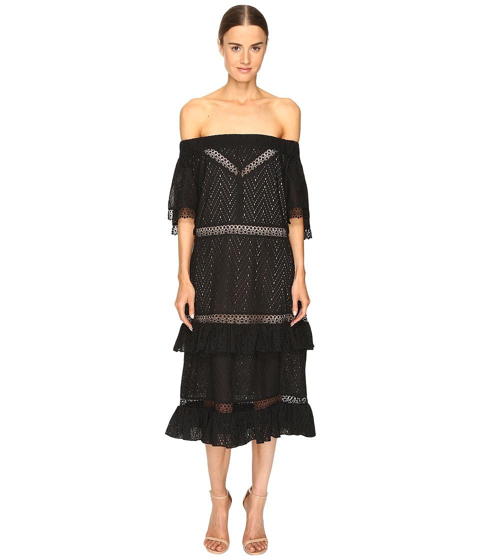 Prabal Gurung Off Shoulder Tiered Ruffle Dress (Black) Women