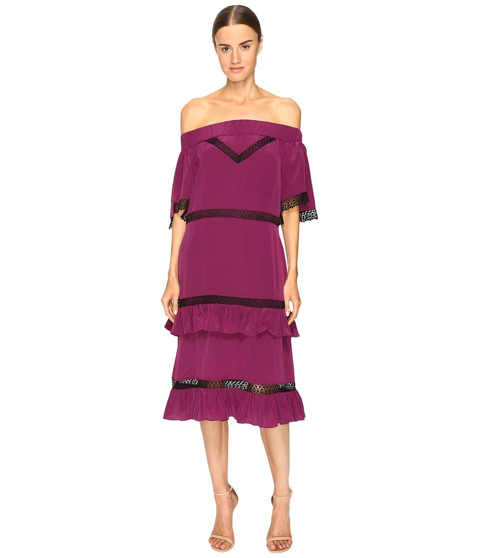 Prabal Gurung Off Shoulder Tiered Ruffle Dress (Berry) Women