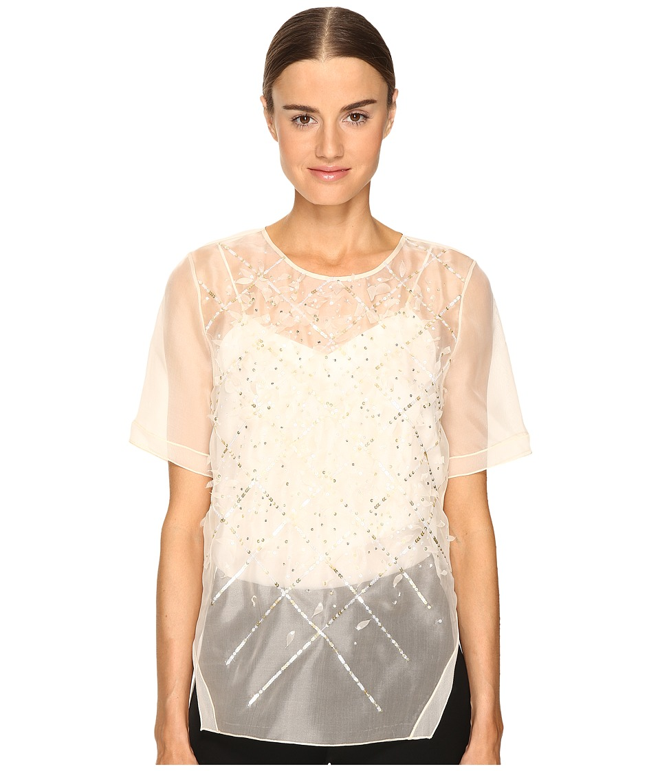 Prabal Gurung Short Sleeve Embroidered Blouse (Ivory) Women's Blouse