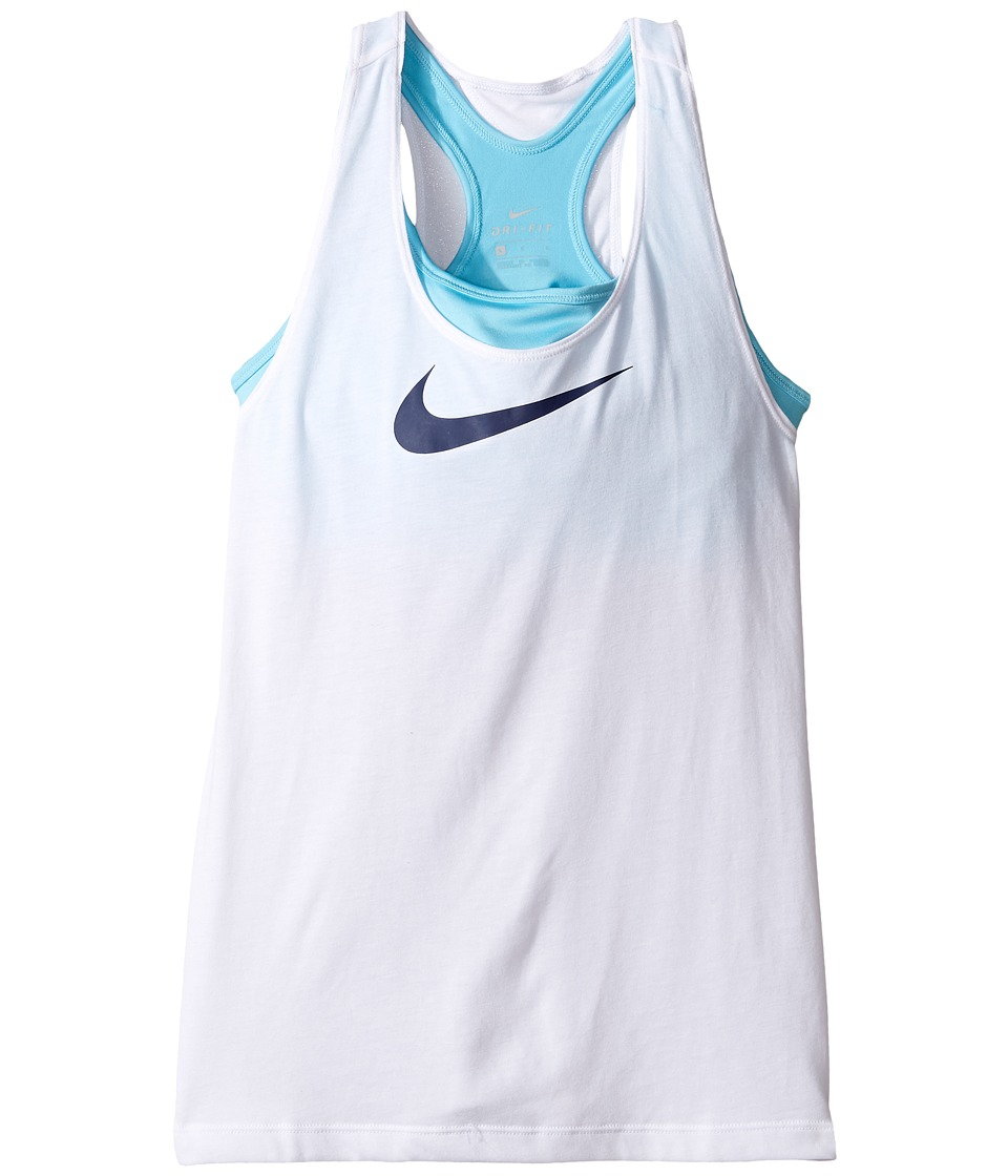 Nike Kids - Breathe 2-in-1 Training Tank (Little Kids/Big Kids) (White/Vivid Sky/Binary Blue) Girl's Sleeveless