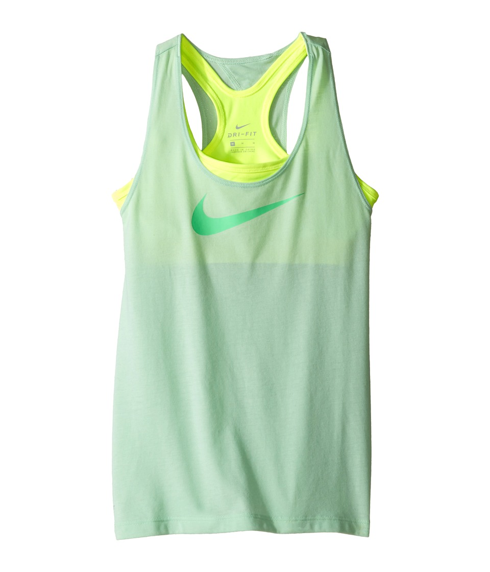 Nike Kids - Breathe 2-in-1 Training Tank (Little Kids/Big Kids) (Fresh Mint/Volt/Electro Green) Girl's Sleeveless